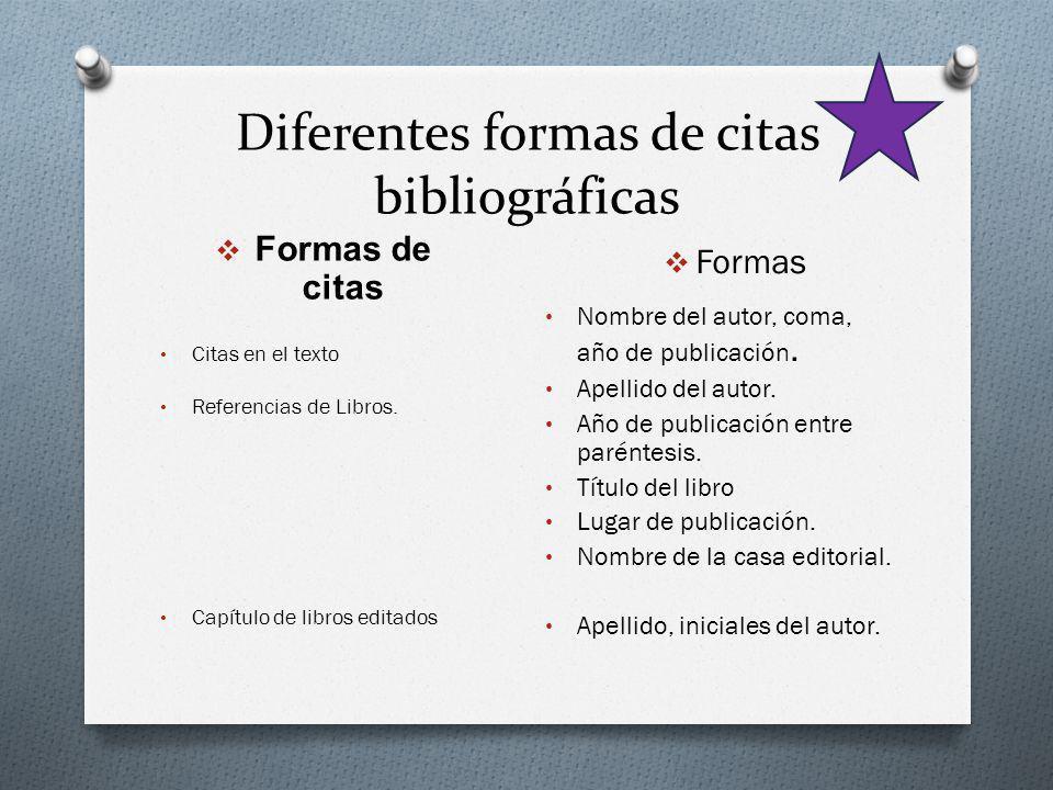 Diferentes formas de citas bibliográficas Formas de citas Formas Citas en el texto Referencias de Libros. Capítulo de libros editados Nombre del autor