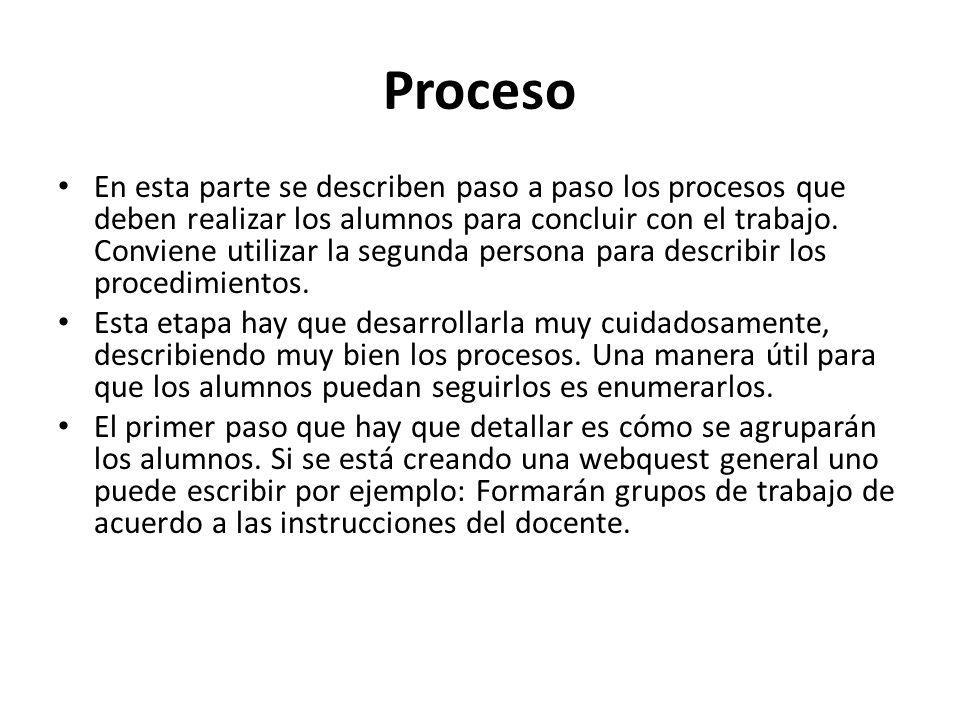 Proceso En esta parte se describen paso a paso los procesos que deben realizar los alumnos para concluir con el trabajo. Conviene utilizar la segunda