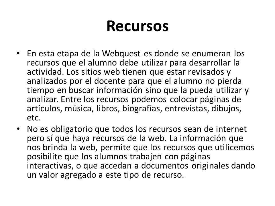 Recursos En esta etapa de la Webquest es donde se enumeran los recursos que el alumno debe utilizar para desarrollar la actividad. Los sitios web tien