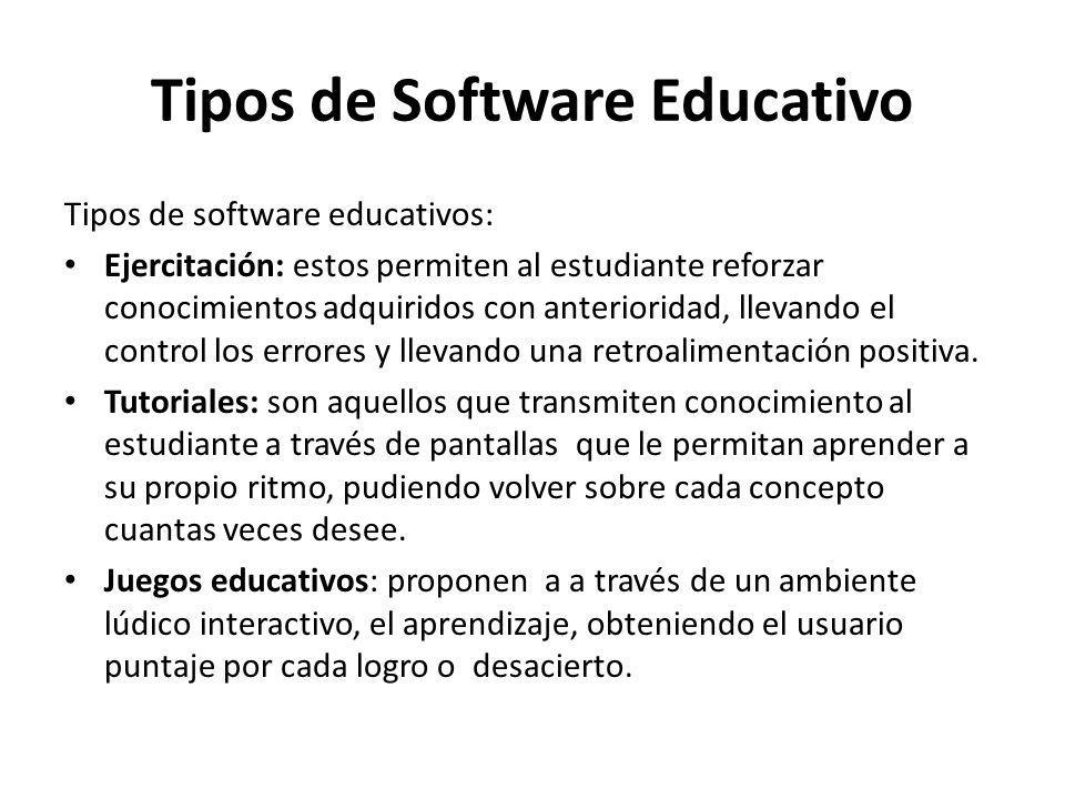 Tipos de Software Educativo Tipos de software educativos: Ejercitación: estos permiten al estudiante reforzar conocimientos adquiridos con anteriorida