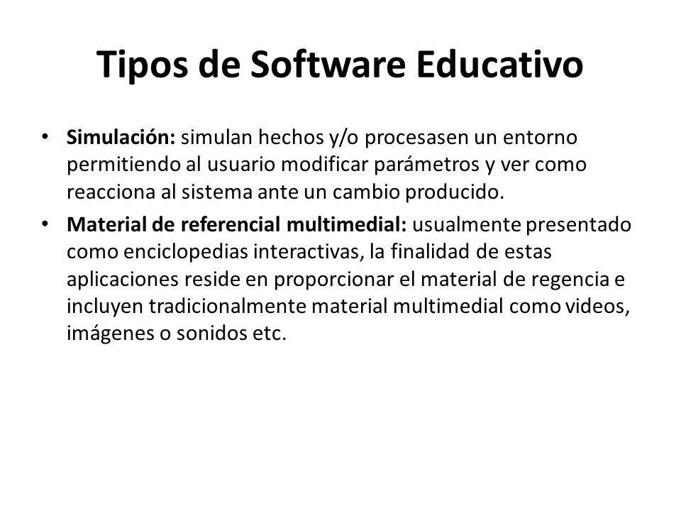 Tipos de Software Educativo Simulación: simulan hechos y/o procesasen un entorno permitiendo al usuario modificar parámetros y ver como reacciona al s