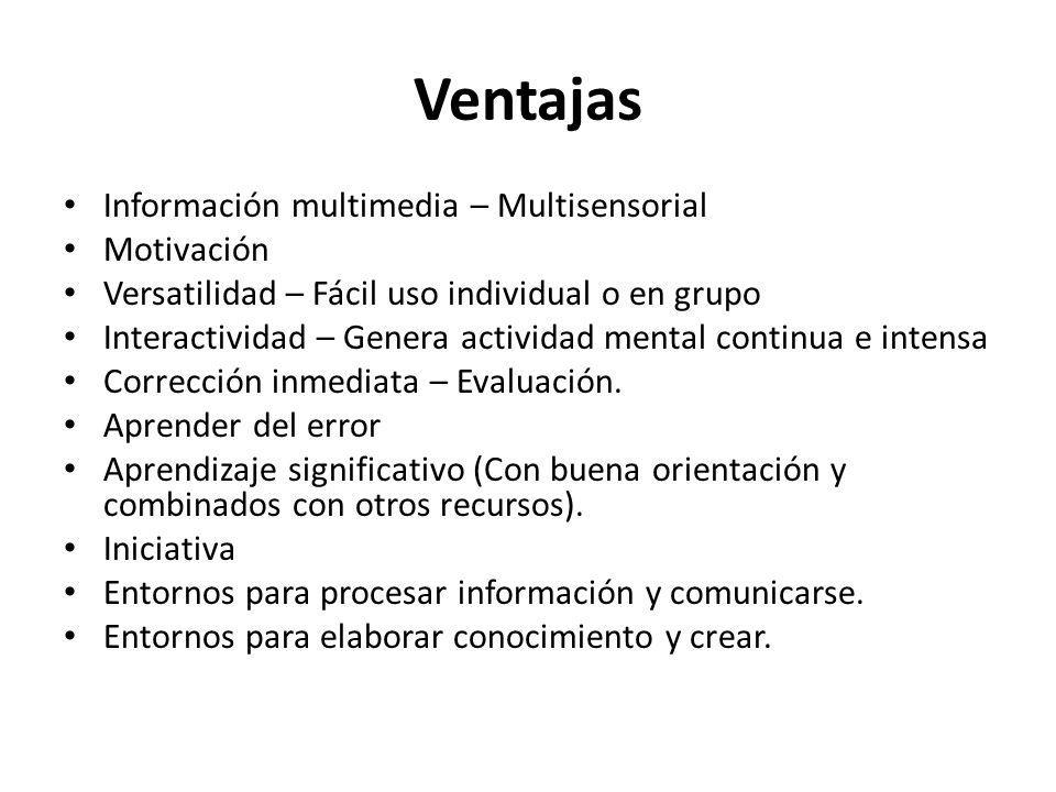 Ventajas Información multimedia – Multisensorial Motivación Versatilidad – Fácil uso individual o en grupo Interactividad – Genera actividad mental co