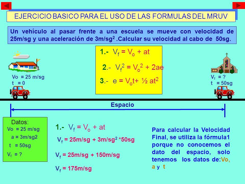 V f = V o + at PLANTEAMIENTO DE FORMULAS DEL MRUV V f 2 = V o 2 + 2ae e = V o t+ ½ at 2 V f = Velocidad Final V o = Velocidad Inicial a = aceleración e = espacio t = tiempo MAGNITUDES Las fórmulas del MRUV se las utiliza dependiendo de los datos presentados en el problema.