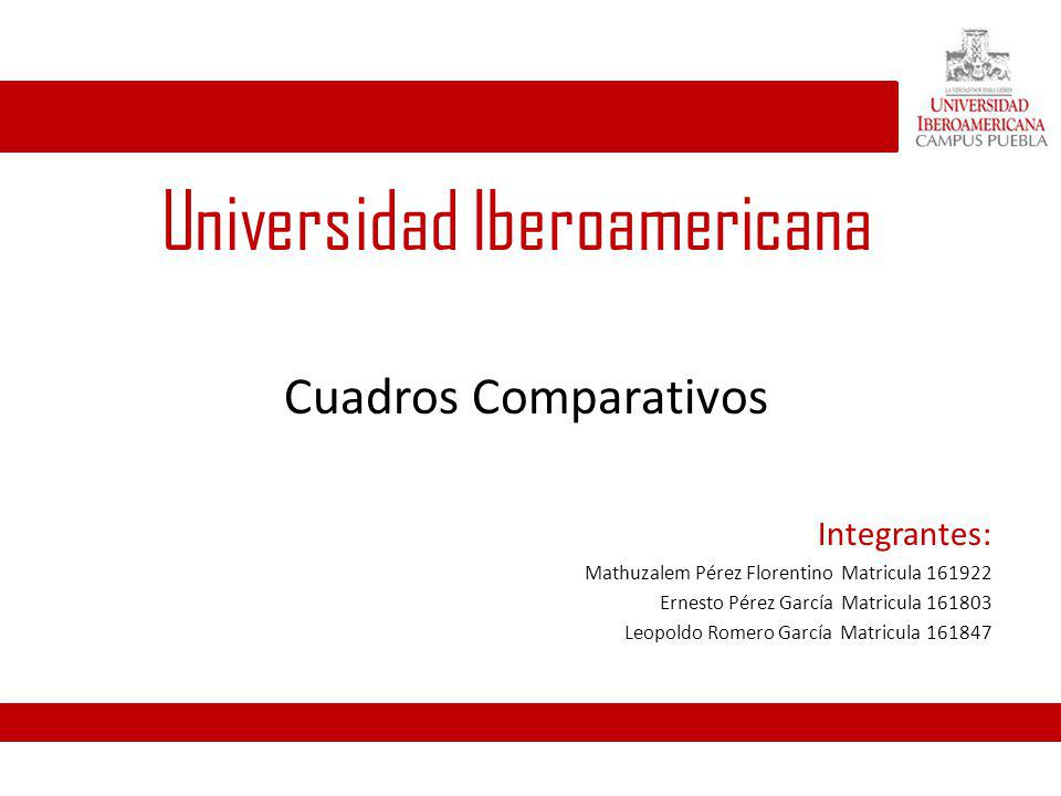 Universidad Iberoamericana Cuadros Comparativos Integrantes: Mathuzalem Pérez Florentino Matricula 161922 Ernesto Pérez García Matricula 161803 Leopol