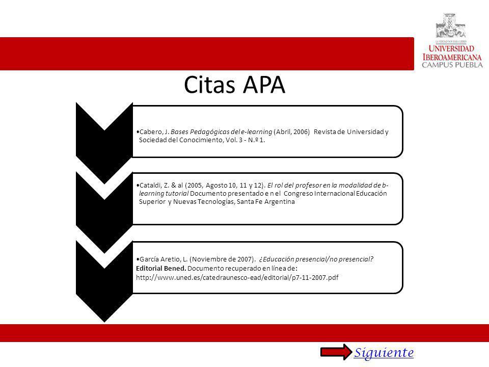 Citas APA Cabero, J. Bases Pedagógicas del e-learning (Abril, 2006) Revista de Universidad y Sociedad del Conocimiento, Vol. 3 - N.º 1. Cataldi, Z. &