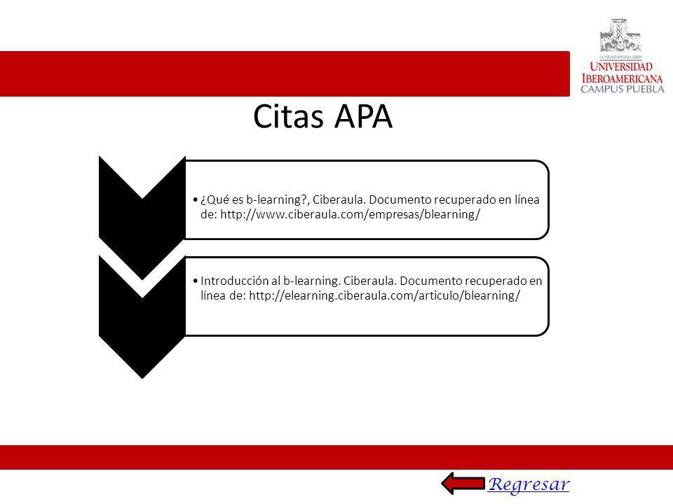 Citas APA ¿Qué es b-learning?, Ciberaula. Documento recuperado en línea de: http://www.ciberaula.com/empresas/blearning/ Introducción al b-learning. C