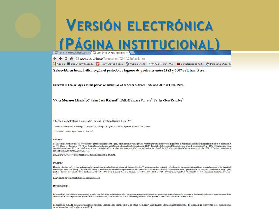 V ERSIÓN ELECTRÓNICA (P ÁGINA INSTITUCIONAL )