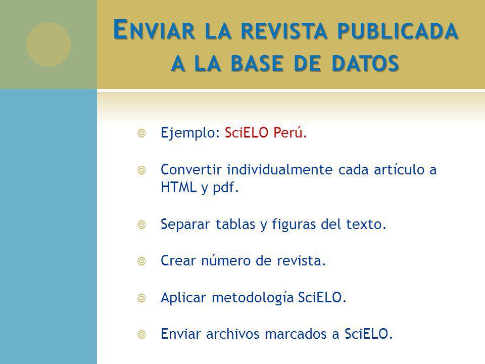 E NVIAR LA REVISTA PUBLICADA A LA BASE DE DATOS Ejemplo: SciELO Perú. Convertir individualmente cada artículo a HTML y pdf. Separar tablas y figuras d