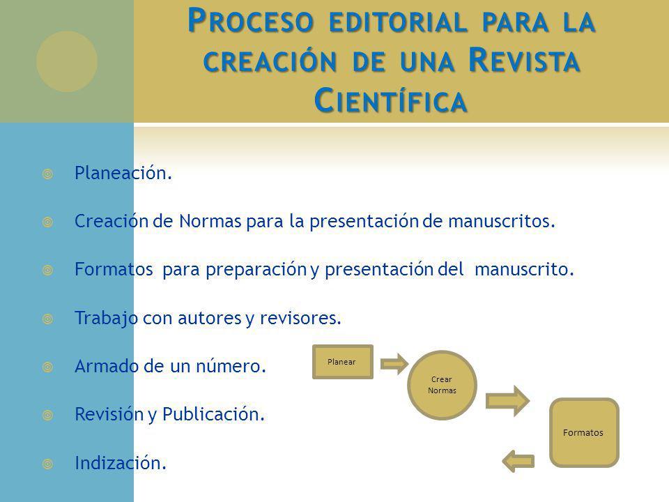 P ROCESO EDITORIAL PARA LA CREACIÓN DE UNA R EVISTA C IENTÍFICA Planeación. Creación de Normas para la presentación de manuscritos. Formatos para prep
