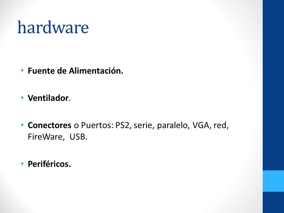 hardware Fuente de Alimentación. Ventilador. Conectores o Puertos: PS2, serie, paralelo, VGA, red, FireWare, USB. Periféricos.