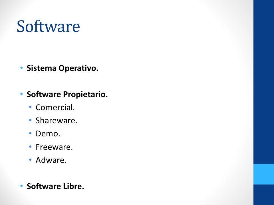 Software Sistema Operativo. Software Propietario. Comercial. Shareware. Demo. Freeware. Adware. Software Libre.