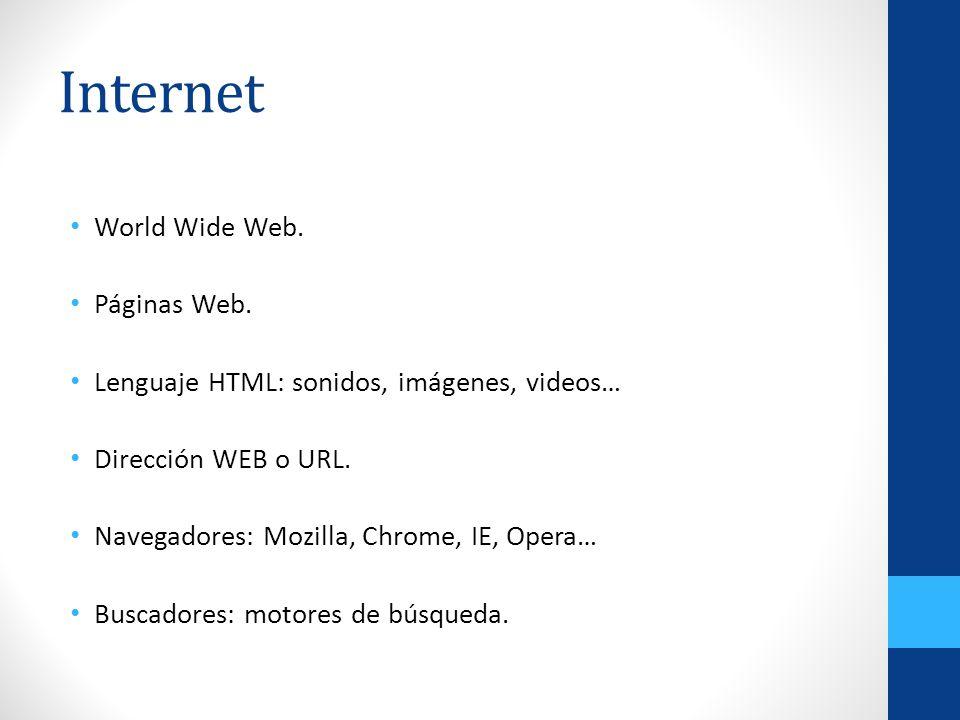 Internet World Wide Web. Páginas Web. Lenguaje HTML: sonidos, imágenes, videos… Dirección WEB o URL. Navegadores: Mozilla, Chrome, IE, Opera… Buscador