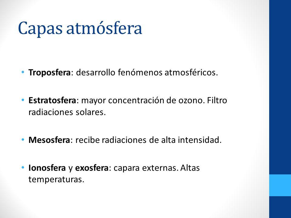 Capas atmósfera Troposfera: desarrollo fenómenos atmosféricos. Estratosfera: mayor concentración de ozono. Filtro radiaciones solares. Mesosfera: reci