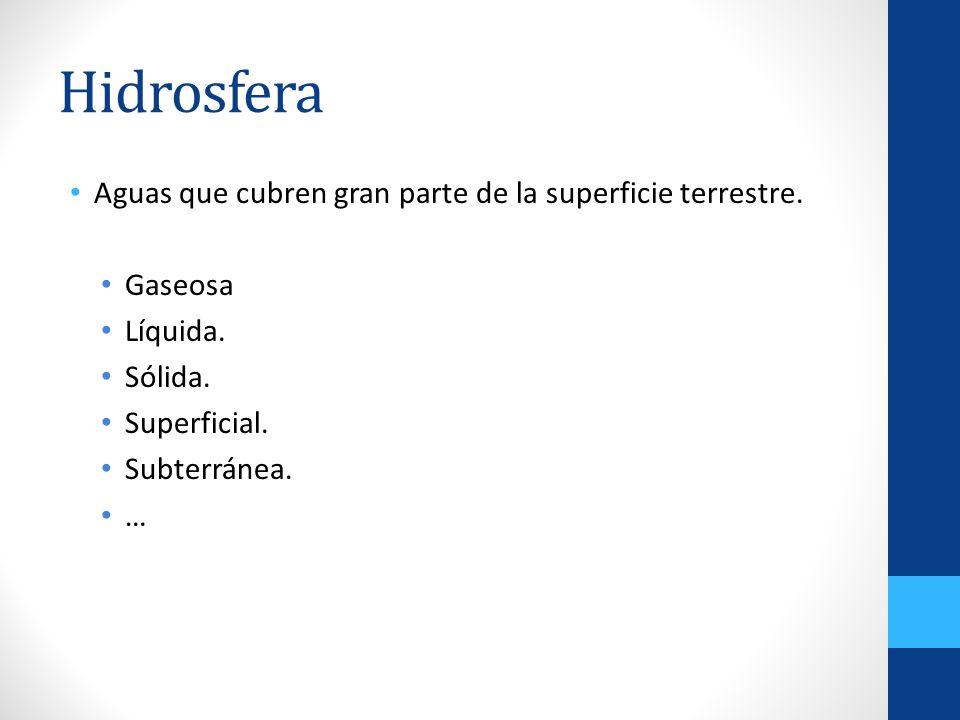 Hidrosfera Aguas que cubren gran parte de la superficie terrestre. Gaseosa Líquida. Sólida. Superficial. Subterránea. …