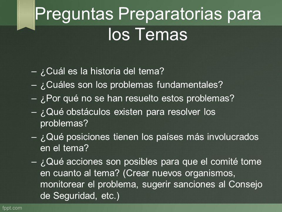 Preguntas Preparatorias para los Temas –¿Cuál es la historia del tema? –¿Cuáles son los problemas fundamentales? –¿Por qué no se han resuelto estos pr