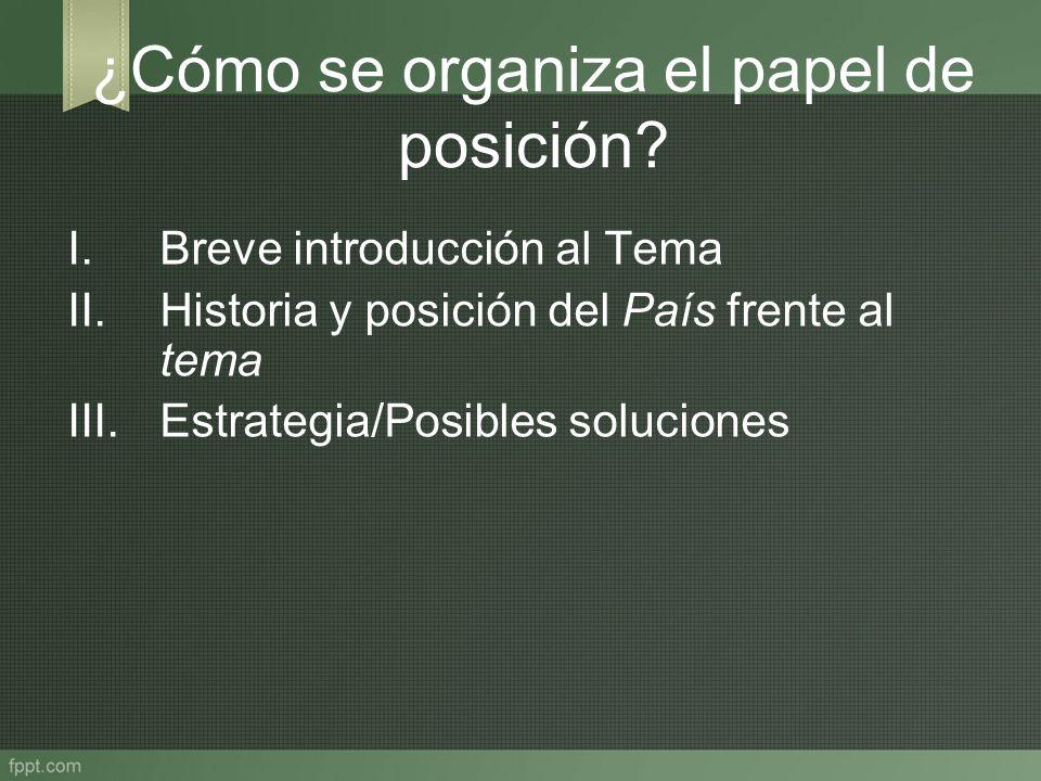¿Cómo se organiza el papel de posición? I.Breve introducción al Tema II.Historia y posición del País frente al tema III.Estrategia/Posibles soluciones