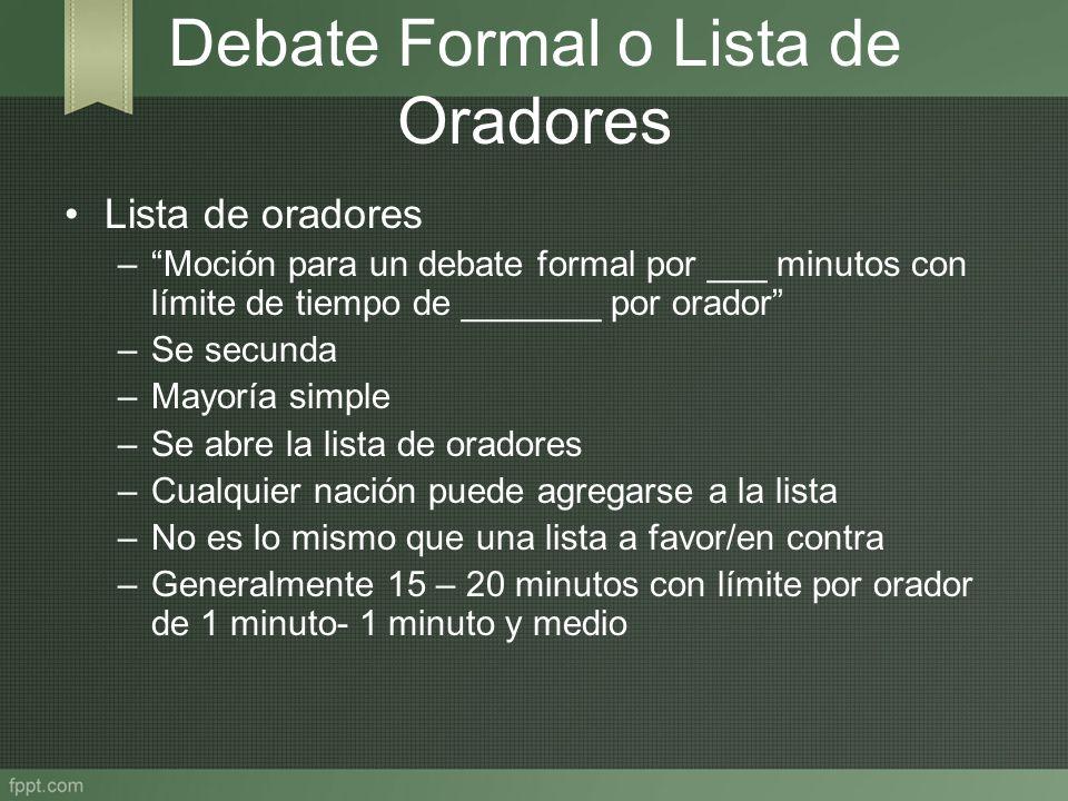 Debate Formal o Lista de Oradores Lista de oradores –Moción para un debate formal por ___ minutos con límite de tiempo de _______ por orador –Se secun