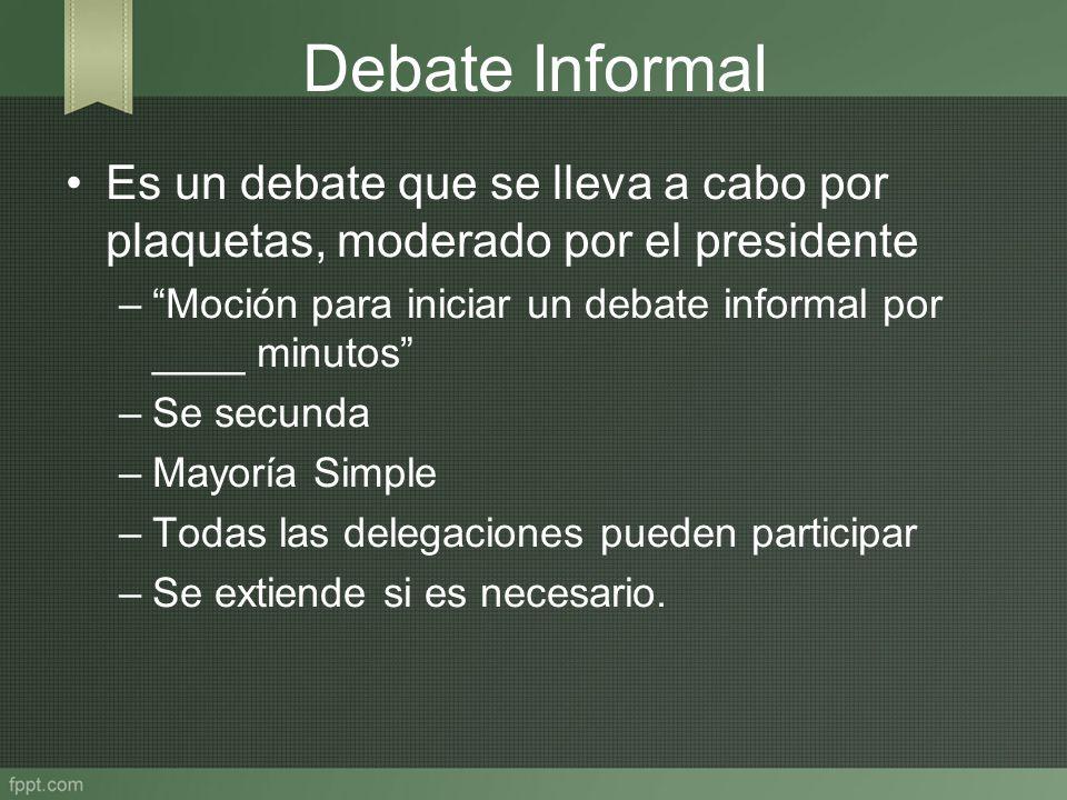 Debate Informal Es un debate que se lleva a cabo por plaquetas, moderado por el presidente –Moción para iniciar un debate informal por ____ minutos –S