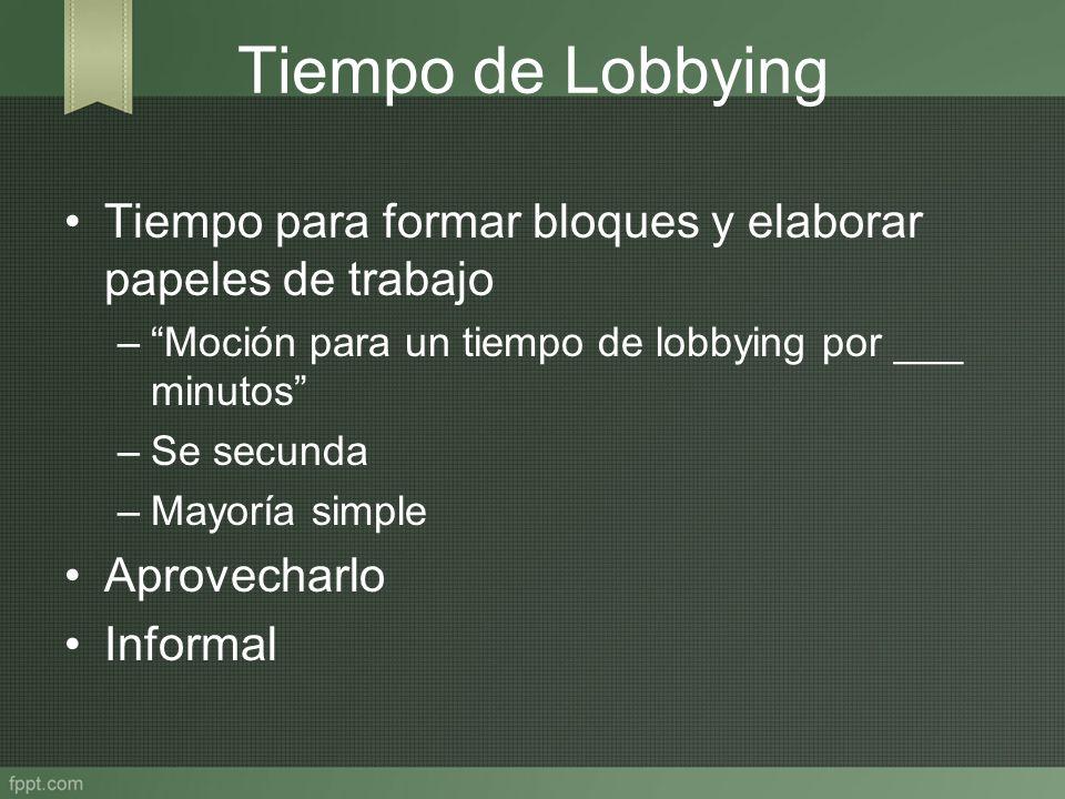 Tiempo de Lobbying Tiempo para formar bloques y elaborar papeles de trabajo –Moción para un tiempo de lobbying por ___ minutos –Se secunda –Mayoría si
