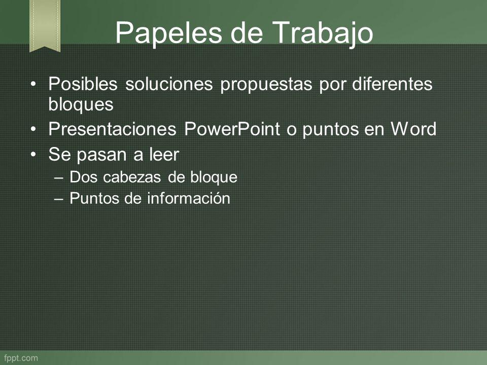 Papeles de Trabajo Posibles soluciones propuestas por diferentes bloques Presentaciones PowerPoint o puntos en Word Se pasan a leer –Dos cabezas de bl