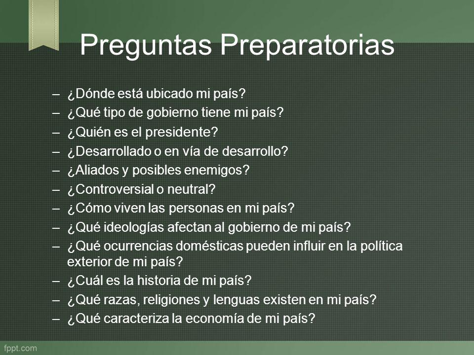 Preguntas Preparatorias –¿Dónde está ubicado mi país? –¿Qué tipo de gobierno tiene mi país? –¿Quién es el presidente ? –¿Desarrollado o en vía de desa