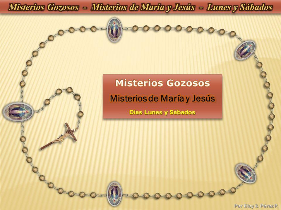 3- Dios te salve, María, llena eres de gracia, el Señor es contigo, bendita tú eres entre todas las mujeres, y bendito es el fruto de tu vientre, Jesús.