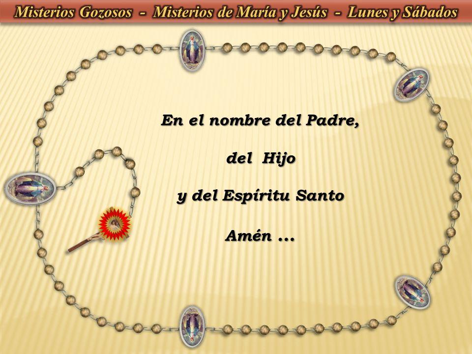 1- Dios te salve, María, llena eres de gracia, el Señor es contigo, bendita tú eres entre todas las mujeres, y bendito es el fruto de tu vientre, Jesús.