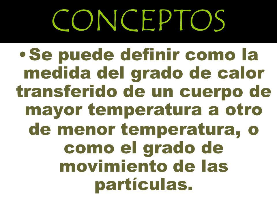 CONCEPTOS Se puede definir como la medida del grado de calor transferido de un cuerpo de mayor temperatura a otro de menor temperatura, o como el grado de movimiento de las partículas.