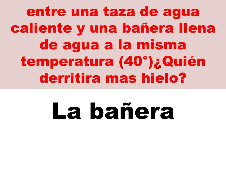 entre una taza de agua caliente y una bañera llena de agua a la misma temperatura (40°)¿Quién derritira mas hielo.