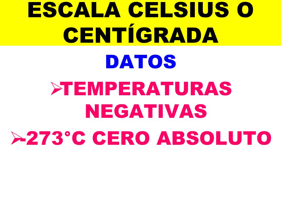 ESCALA CELSIUS O CENTÍGRADA DATOS TEMPERATURAS NEGATIVAS -273°C CERO ABSOLUTO
