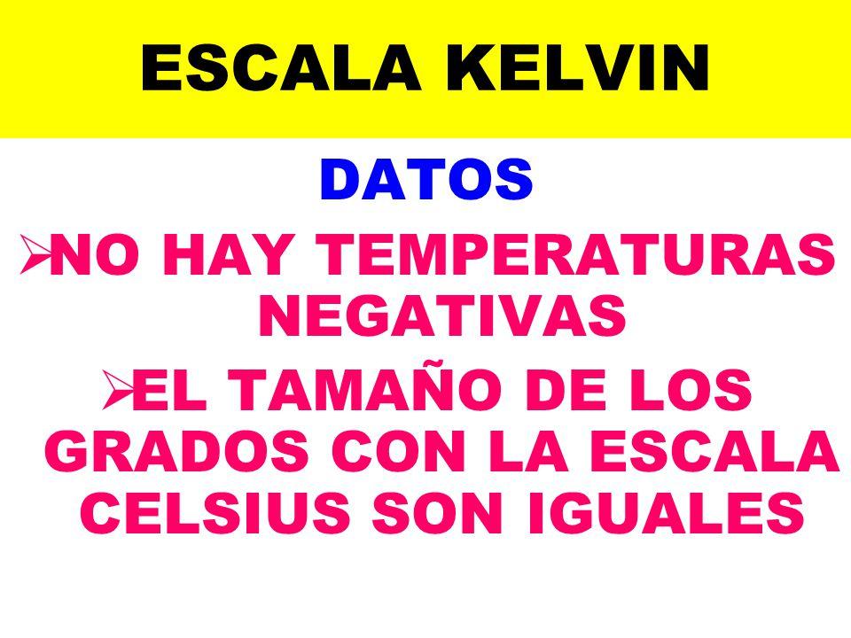 ESCALA KELVIN DATOS NO HAY TEMPERATURAS NEGATIVAS EL TAMAÑO DE LOS GRADOS CON LA ESCALA CELSIUS SON IGUALES
