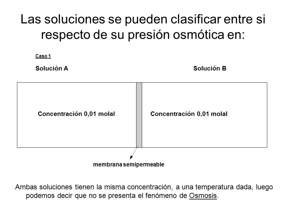 Las soluciones se pueden clasificar entre si respecto de su presión osmótica en: Caso 1 Solución A Solución B Concentración 0,01 molal membrana semipermeable Ambas soluciones tienen la misma concentración, a una temperatura dada, luego podemos decir que no se presenta el fenómeno de Osmosis.
