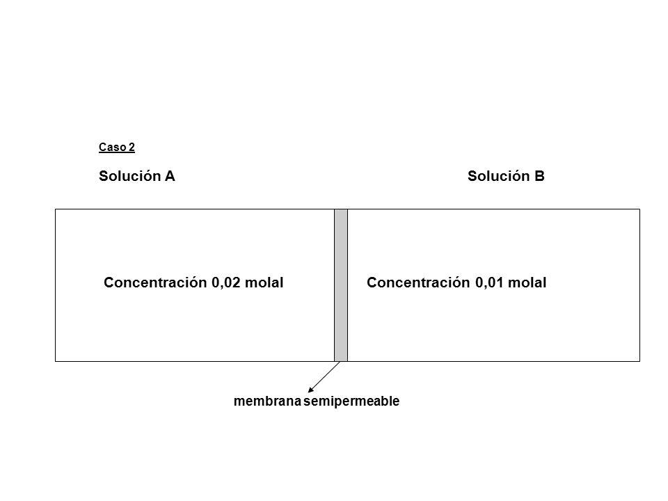 Caso 2 Solución A Solución B Concentración 0,02 molal Concentración 0,01 molal membrana semipermeable