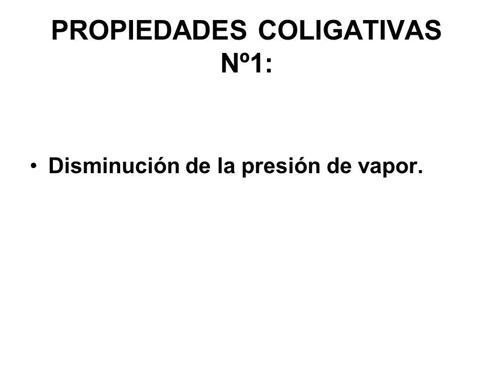 PROPIEDADES COLIGATIVAS Nº1: Disminución de la presión de vapor.