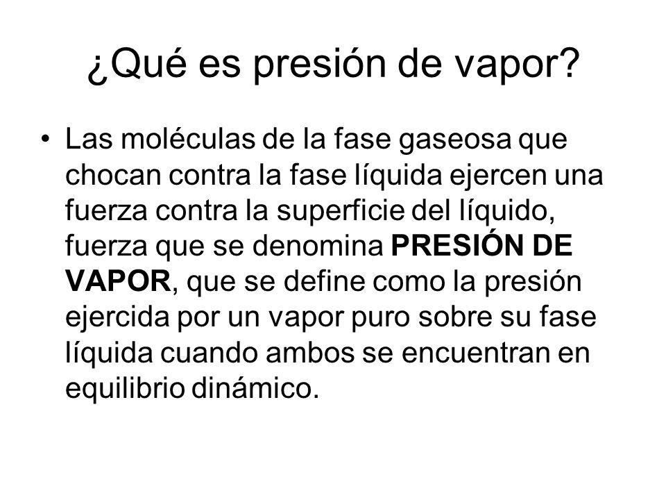 ¿Qué es presión de vapor.
