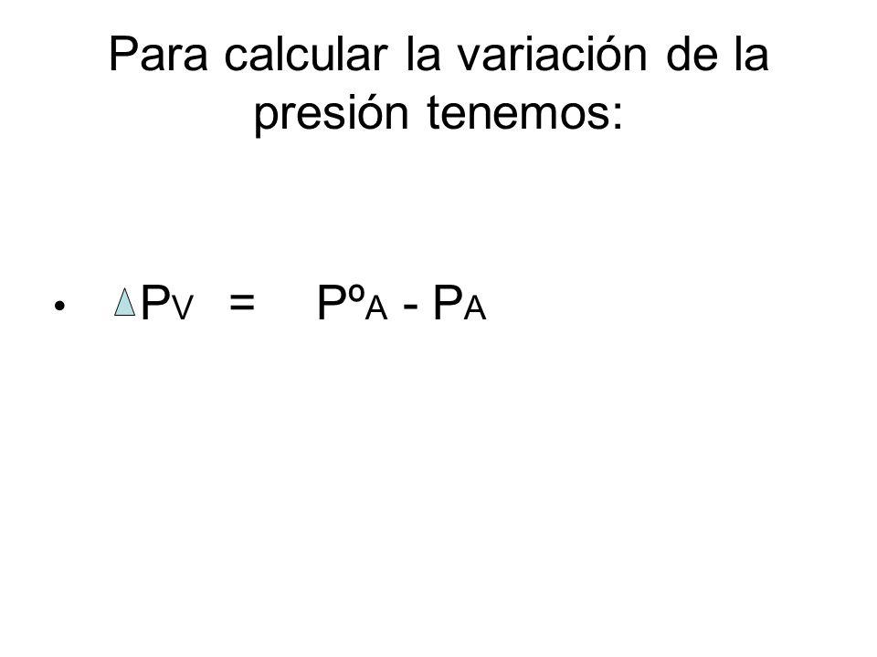 Para calcular la variación de la presión tenemos: P V =Pº A - P A
