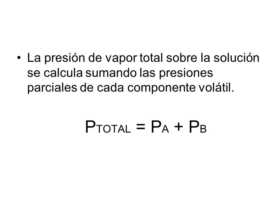 La presión de vapor total sobre la solución se calcula sumando las presiones parciales de cada componente volátil.