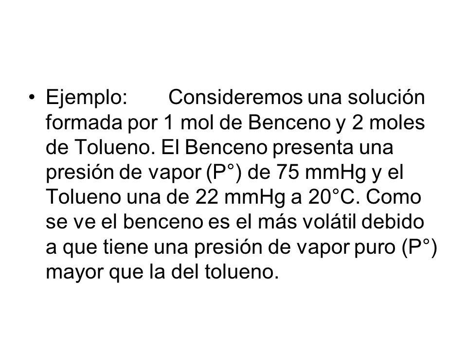 Ejemplo:Consideremos una solución formada por 1 mol de Benceno y 2 moles de Tolueno.