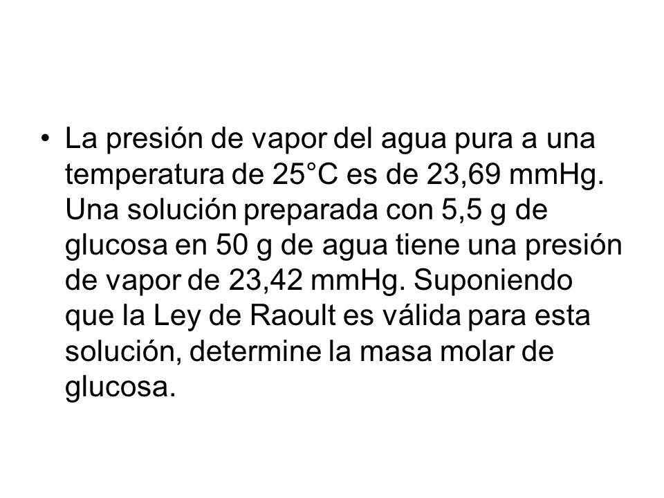 La presión de vapor del agua pura a una temperatura de 25°C es de 23,69 mmHg.