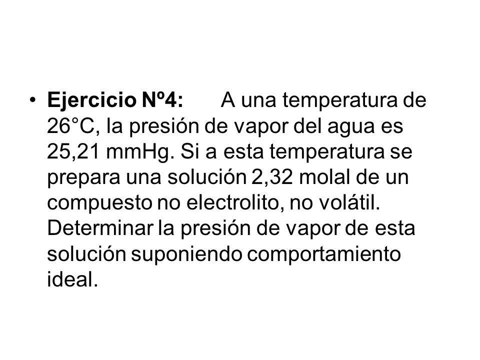 Ejercicio Nº4:A una temperatura de 26°C, la presión de vapor del agua es 25,21 mmHg.
