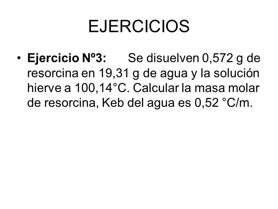 EJERCICIOS Ejercicio Nº3:Se disuelven 0,572 g de resorcina en 19,31 g de agua y la solución hierve a 100,14°C.