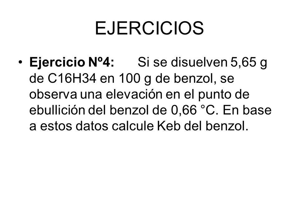 EJERCICIOS Ejercicio Nº4:Si se disuelven 5,65 g de C16H34 en 100 g de benzol, se observa una elevación en el punto de ebullición del benzol de 0,66 °C.