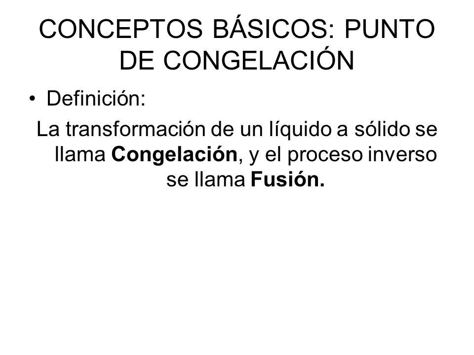 CONCEPTOS BÁSICOS: PUNTO DE CONGELACIÓN Definición: La transformación de un líquido a sólido se llama Congelación, y el proceso inverso se llama Fusión.