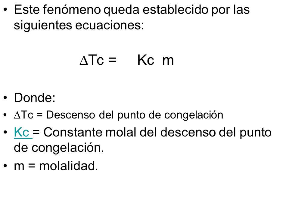 Este fenómeno queda establecido por las siguientes ecuaciones: Tc=Kc m Donde: Tc = Descenso del punto de congelación Kc = Constante molal del descenso del punto de congelación.Kc m = molalidad.