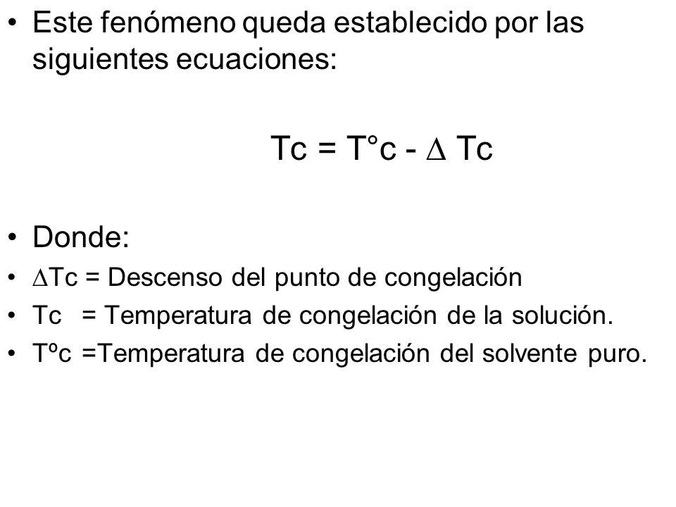 Este fenómeno queda establecido por las siguientes ecuaciones: Tc = T°c- Tc Donde: Tc = Descenso del punto de congelación Tc = Temperatura de congelación de la solución.