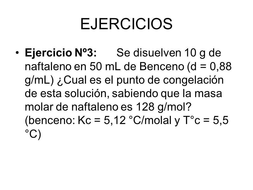 EJERCICIOS Ejercicio Nº3:Se disuelven 10 g de naftaleno en 50 mL de Benceno (d = 0,88 g/mL) ¿Cual es el punto de congelación de esta solución, sabiendo que la masa molar de naftaleno es 128 g/mol.