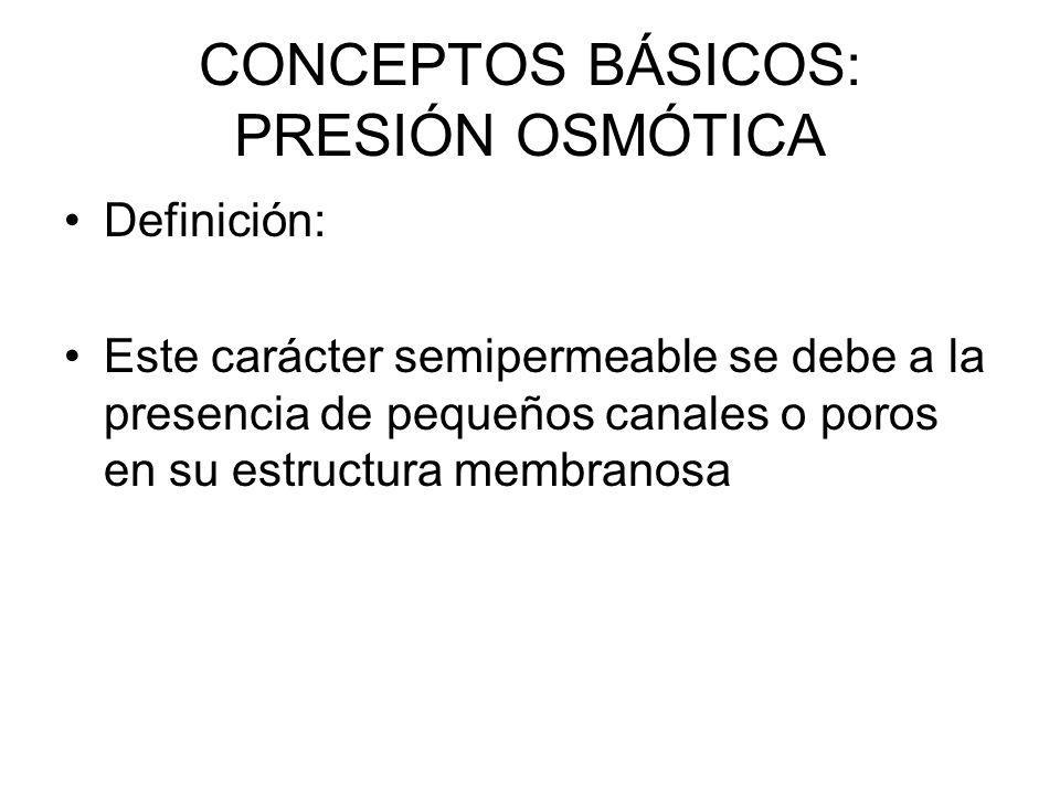 CONCEPTOS BÁSICOS: PRESIÓN OSMÓTICA Definición: Este carácter semipermeable se debe a la presencia de pequeños canales o poros en su estructura membranosa