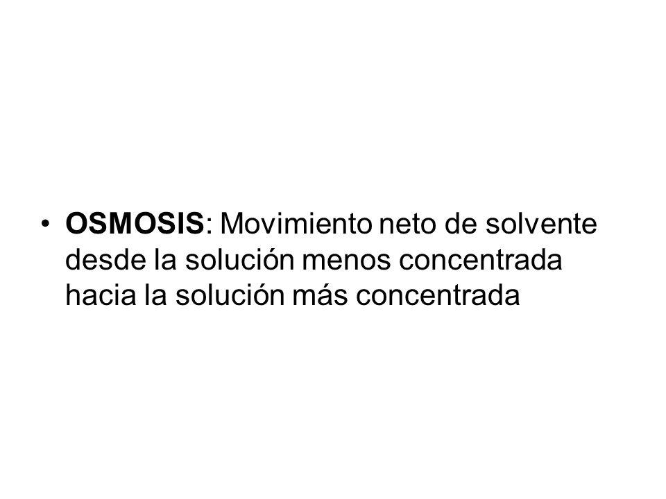 OSMOSIS: Movimiento neto de solvente desde la solución menos concentrada hacia la solución más concentrada
