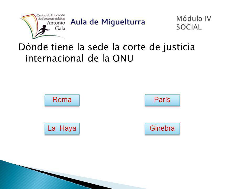 Dónde tiene la sede la corte de justicia internacional de la ONU Roma París La Haya Ginebra