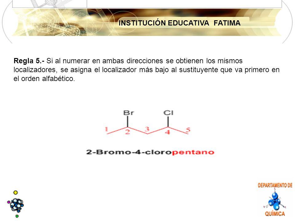 INSTITUCIÓN EDUCATIVA FATIMA Regla 5.- Si al numerar en ambas direcciones se obtienen los mismos localizadores, se asigna el localizador más bajo al sustituyente que va primero en el orden alfabético.